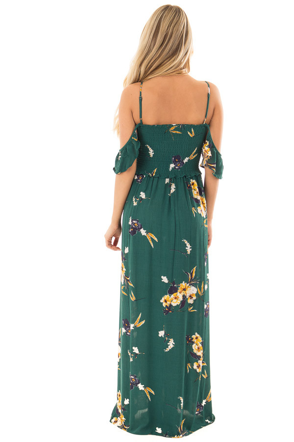 Antique Green Floral Print Maxi Dress back full body