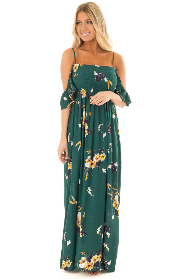 Antique Green Floral Print Maxi Dress front full body