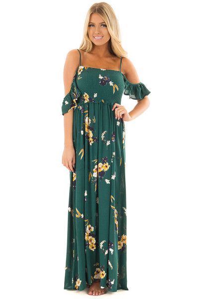 Antique Green Floral Print Maxi Dress front close up
