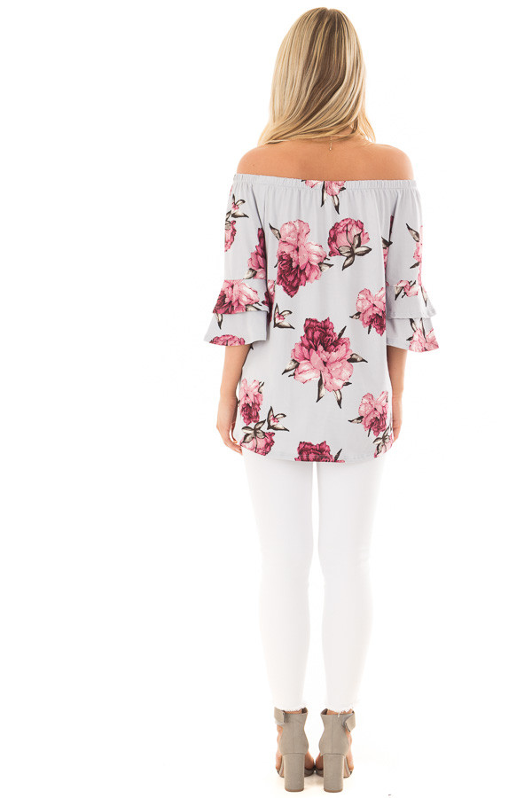 Steel Blue Floral Off the Shoulder Top with Tiered Sleeves back full body