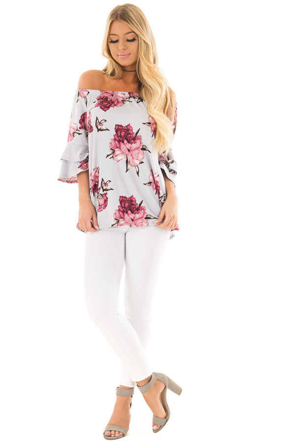 Steel Blue Floral Off the Shoulder Top with Tiered Sleeves front full body