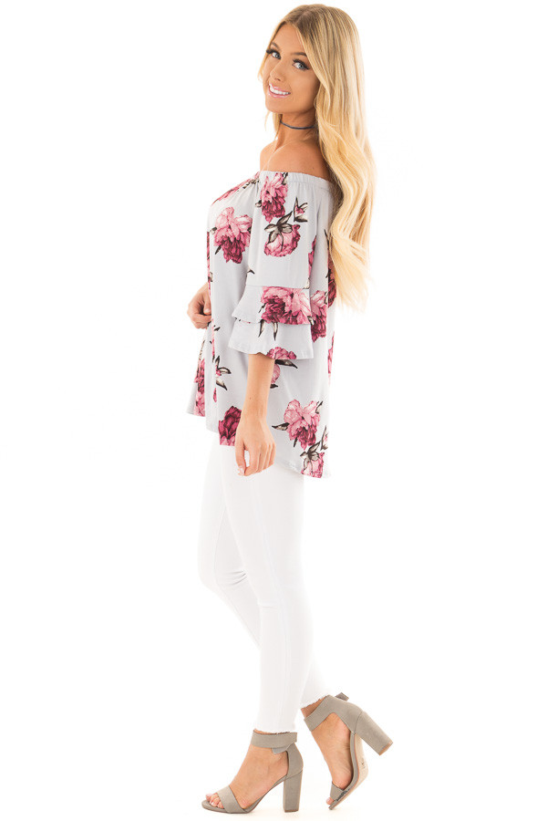 Steel Blue Floral Off the Shoulder Top with Tiered Sleeves side full body