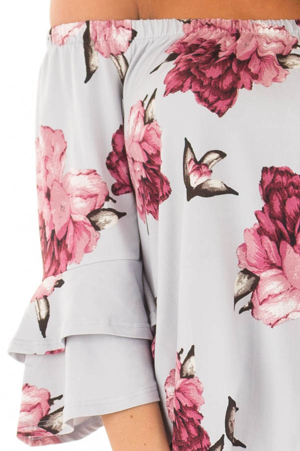 Steel Blue Floral Off the Shoulder Top with Tiered Sleeves detail