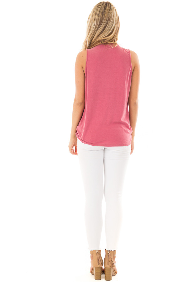 Deep Rose Criss Cross Soft Tank Top with Choker Band back full body