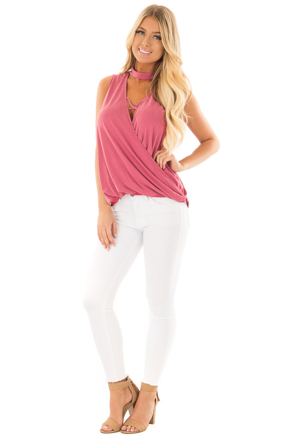 Deep Rose Criss Cross Soft Tank Top with Choker Band front full body