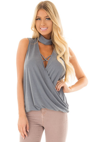 Steel Blue Criss Cross Soft Tank Top with Choker Band front close up