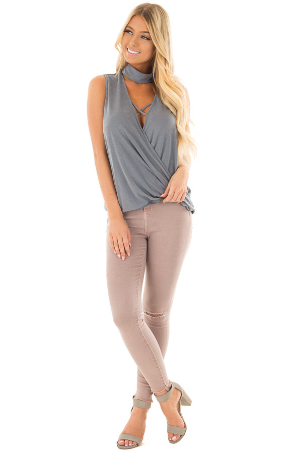Steel Blue Criss Cross Soft Tank Top with Choker Band front full body