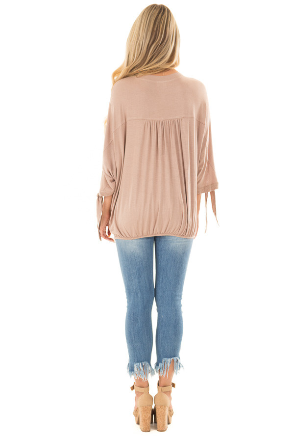 Mocha Dolman 3/4 Sleeve Top with Gathered Hem back full body