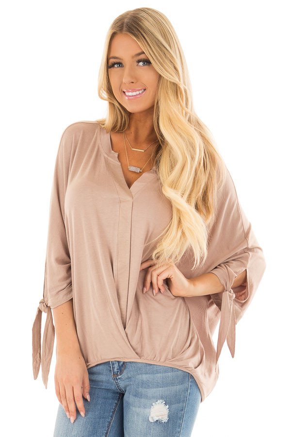 Mocha Dolman 3/4 Sleeve Top with Gathered Hem front close up