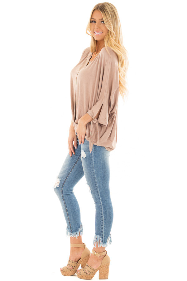 Mocha Dolman 3/4 Sleeve Top with Gathered Hem side full body