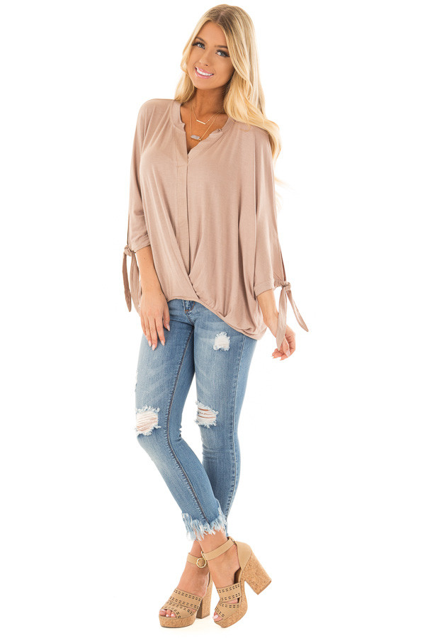 Mocha Dolman 3/4 Sleeve Top with Gathered Hem front full body