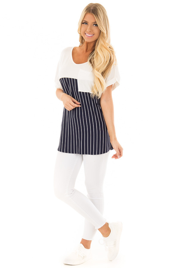 Navy Stripe V Neck Top with Front Pocket Detail front full body
