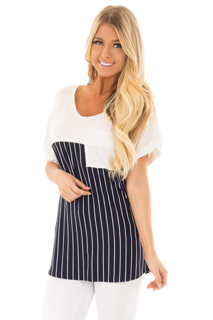 Navy Stripe V Neck Top with Front Pocket Detail front close up