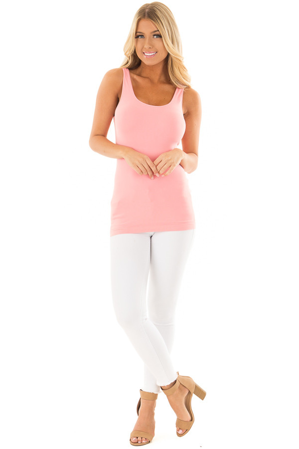 Flamingo Pink Seamless Long Tank Top front full body