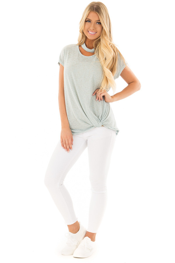 Sky Blue Striped Top with Front Twist and Chest Cutout front full body