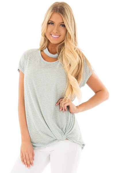 Sky Blue Striped Top with Front Twist and Chest Cutout front close up