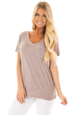 Taupe Mineral Wash Top with Front Pocket front close up