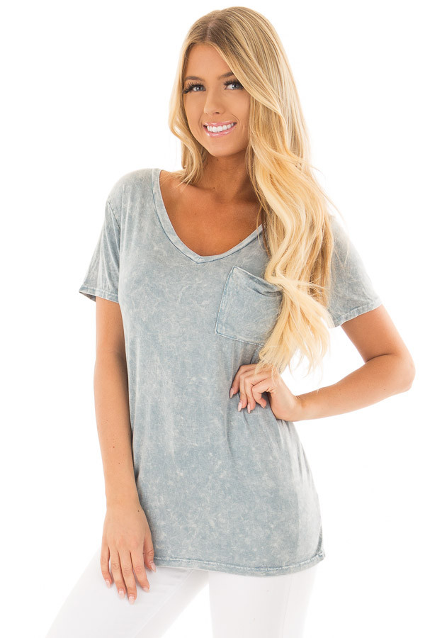 Sky Blue Mineral Wash Top with Front Pocket front close up