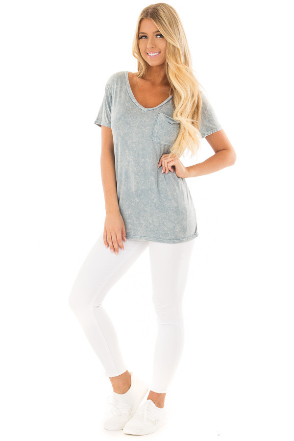 Sky Blue Mineral Wash Top with Front Pocket front full body