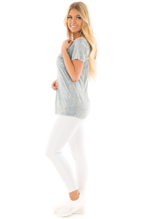 Sky Blue Mineral Wash Top with Front Pocket side full body