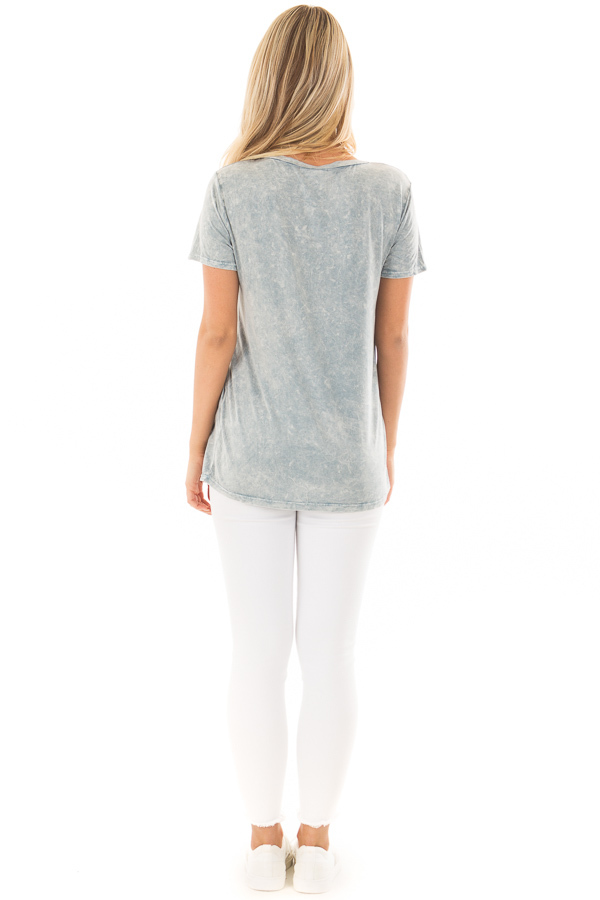 Sky Blue Mineral Wash Top with Front Pocket back full body