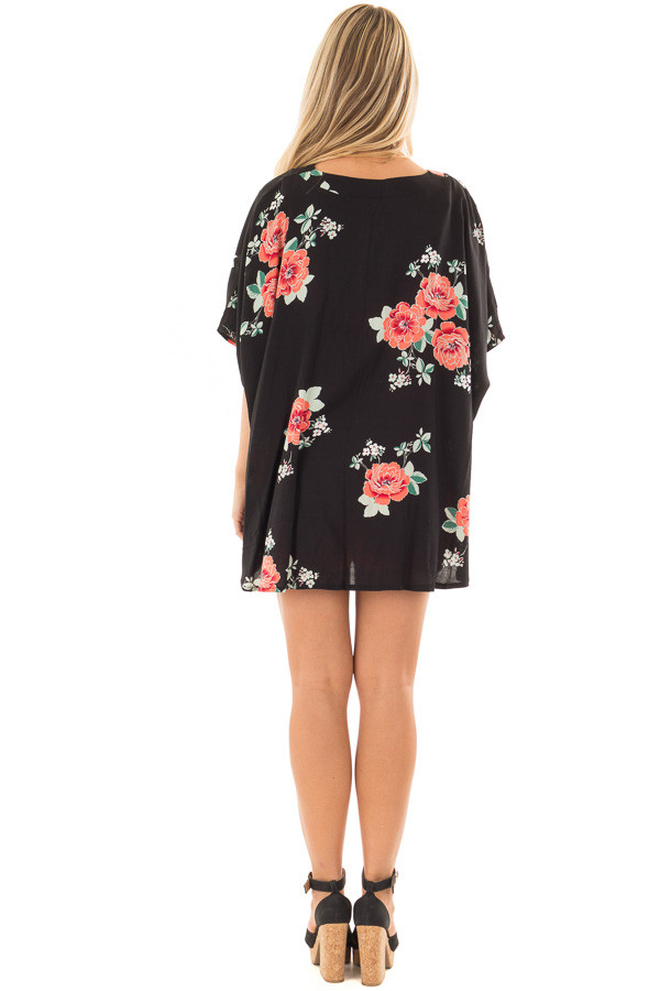 Black and Coral Floral Print Short Sleeve Kimono back full body