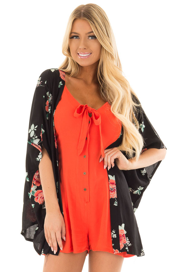 Black and Coral Floral Print Short Sleeve Kimono front close up