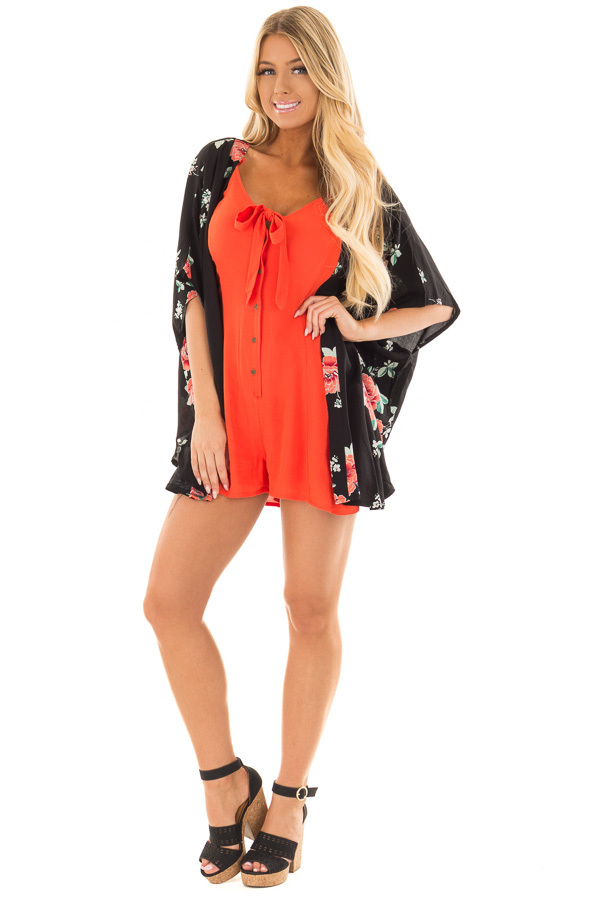 Black and Coral Floral Print Short Sleeve Kimono front full body