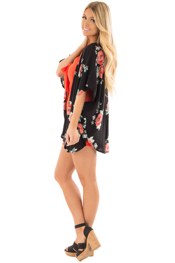 Black and Coral Floral Print Short Sleeve Kimono side full body