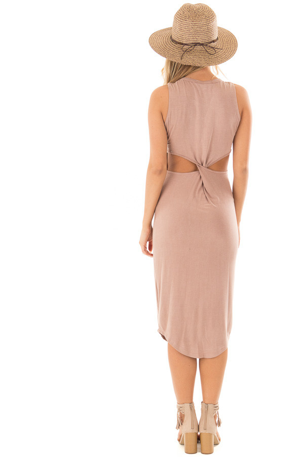 Dusty Rose Midi Dress with Knotted Open Back back full body