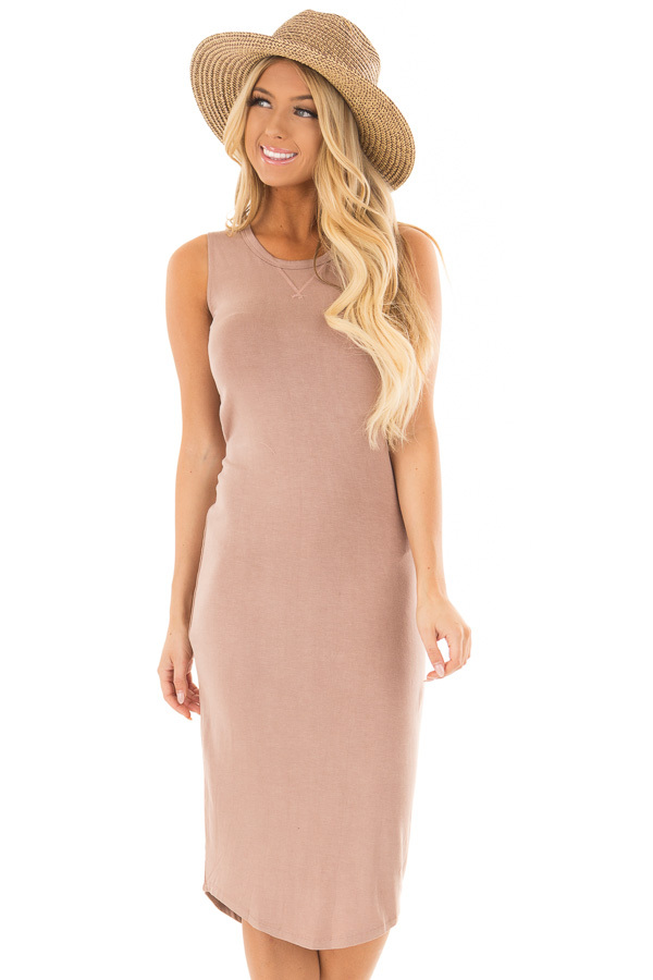 Dusty Rose Midi Dress with Knotted Open Back front close up