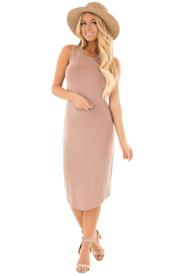 Dusty Rose Midi Dress with Knotted Open Back front full body