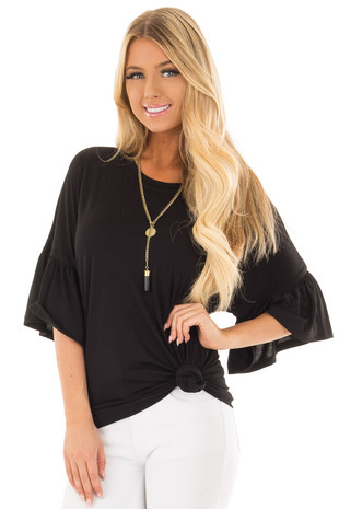 Black Oversized Tunic with 3/4 Bell Sleeves front close up