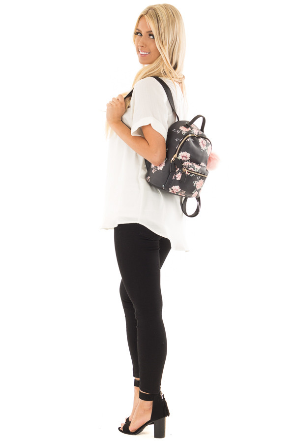 Black and Blush Floral Print Mini Backpack with Pom Pom side full body
