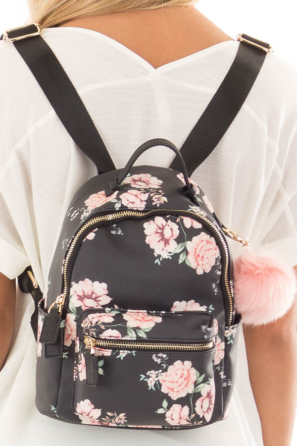 Black and Blush Floral Print Mini Backpack with Pom Pom back close up