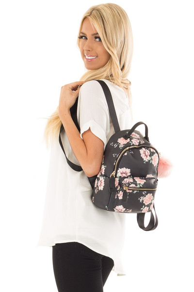 Black and Blush Floral Print Mini Backpack with Pom Pom side close up