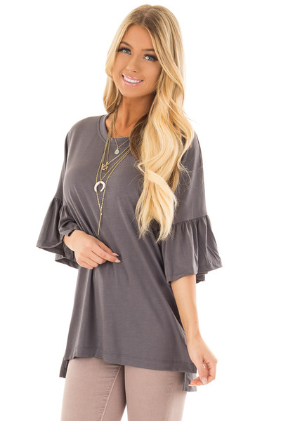 Charcoal Oversized Comfy Top with Butterfly Sleeves front close up