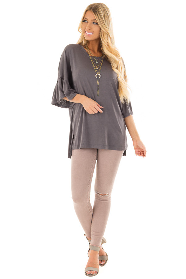Charcoal Oversized Comfy Top with Butterfly Sleeves front full body