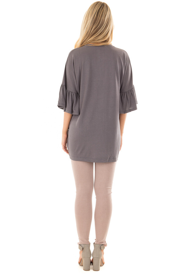 Charcoal Oversized Comfy Top with Butterfly Sleeves back full body