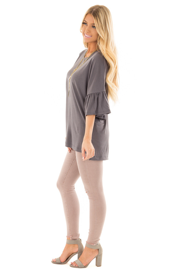 Charcoal Oversized Comfy Top with Butterfly Sleeves side full body