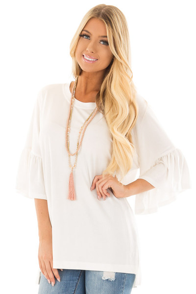 Ivory Oversized Comfy Top with Butterfly Sleeves front close up