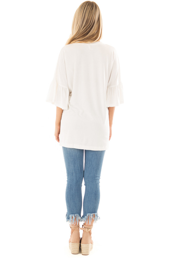 Ivory Oversized Comfy Top with Butterfly Sleeves back full body