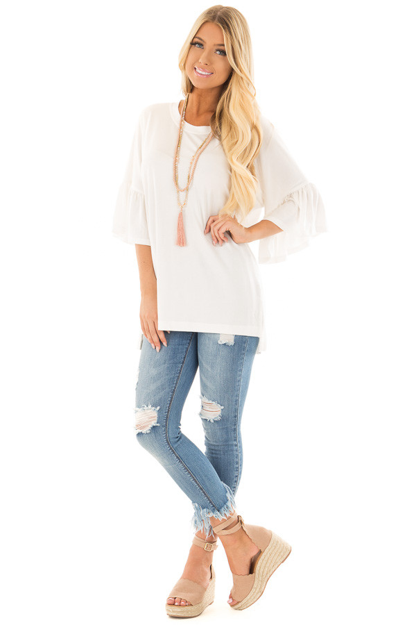 Ivory Oversized Comfy Top with Butterfly Sleeves front full body