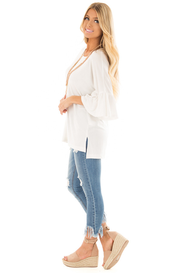 Ivory Oversized Comfy Top with Butterfly Sleeves side full body