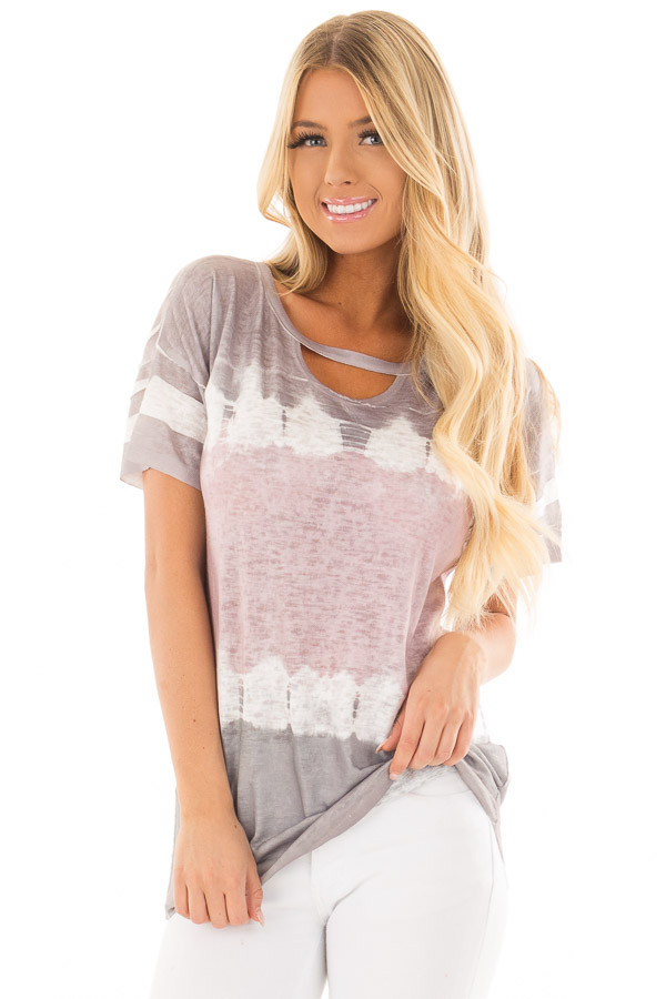 Charcoal and Dusty Rose Tie Dye Top with Keyhole Neckline front close up