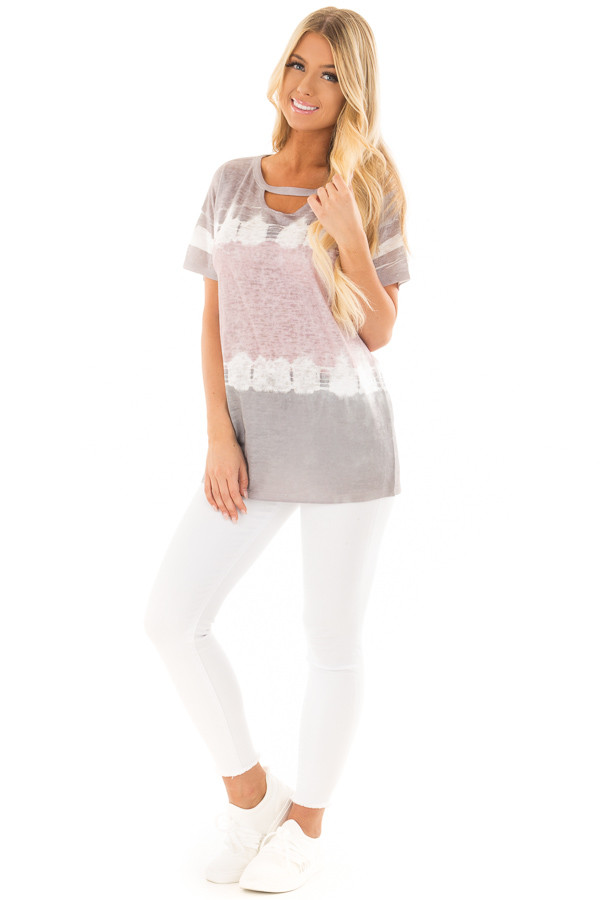 Charcoal and Dusty Rose Tie Dye Top with Keyhole Neckline front full body