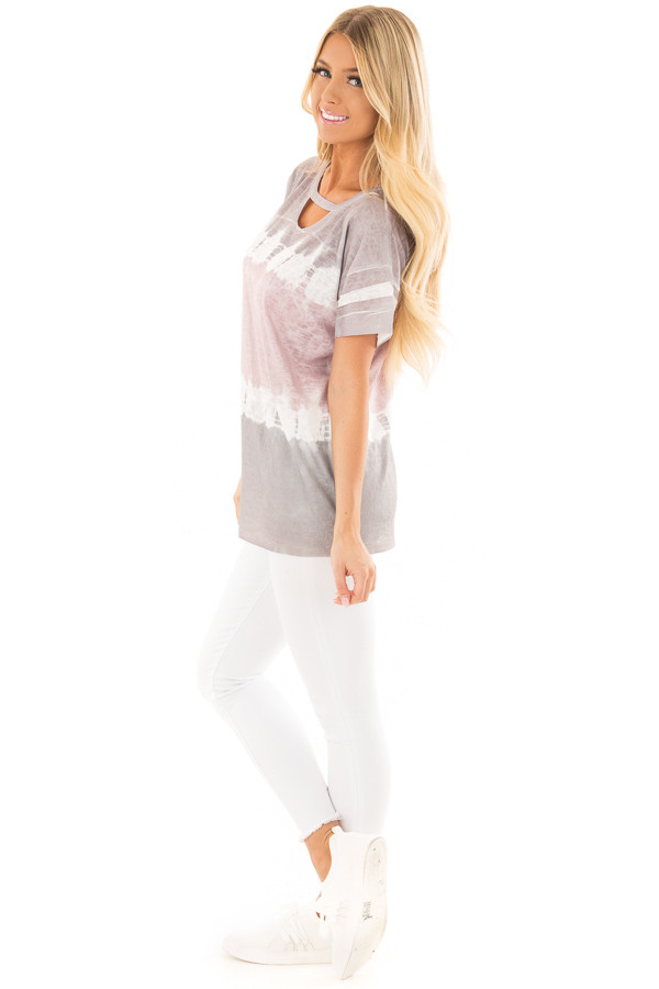 Charcoal and Dusty Rose Tie Dye Top with Keyhole Neckline side full body