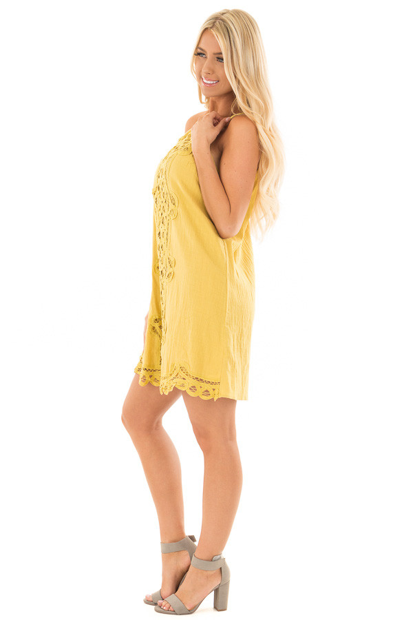 Mustard Spaghetti Strap Dress with Lace Contrast side full body