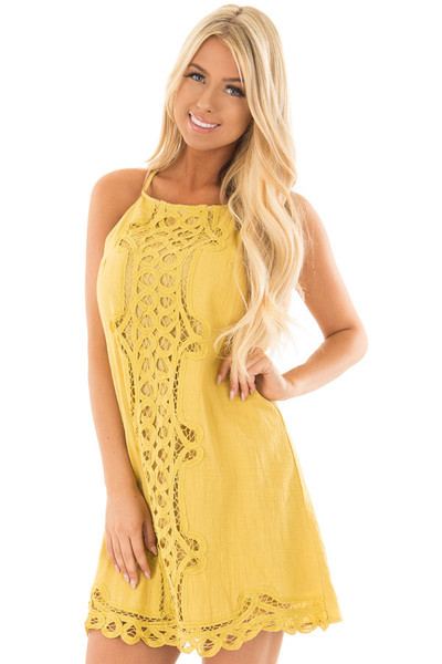 Mustard Spaghetti Strap Dress with Lace Contrast front close up