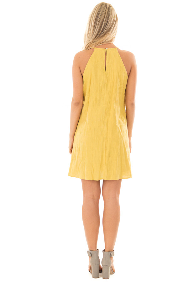 Mustard Spaghetti Strap Dress with Lace Contrast back full body